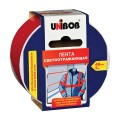 Клейкая лента светоотражающая 48 мм х 5 м, красно-белая, UNIBOB, износоустойчивая, европодвес, 48984