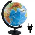 Глобус физико-политический рельефный Глобусный мир, 32см, с подсветкой на круглой подставке, 10202