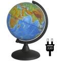 Глобус физико-политический Глобусный мир, 21см, с подсветкой на круглой подставке, 10093