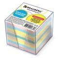 Блок для записей BRAUBERG (БРАУБЕРГ) в подставке прозрачной, куб 9-9х9, 80г/м, цветной
