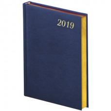 Ежедневник датированный 2019, А5, BRAUBERG Iguana, кожа змеи, крем.блок, зол.срез, синий, 138*213мм