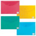 """Папка-конверт с кнопкой BRAUBERG """"My CLEAR BAG"""", А4, 150 мкм, до 100 листов, прозр, ассорти, 225174"""