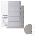 Разделитель пластиковый BRAUBERG А4, 5 листов, цифровой 1-5, оглавление, Серый, РОССИЯ