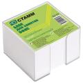 """Блок для записей СТАММ """"Офис""""в подставке прозрачной, куб 9*9*5 белый, БЗ 53"""