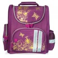 Ранец жесткокаркасный BRAUBERG для начальной школы, девочка, Цветы, фиолетовый, 16 литров,28*14*32см
