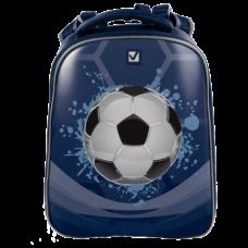 Ранец жесткокаркасный BRAUBERG для сред. школы, 2 отделения, для мальчиков, синий, Мяч, 38*28*19 см