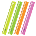 "Линейка пластик 20 см СТАММ ""Neon Cristal"", прозрачная, неон. ассорти, ЛН12"