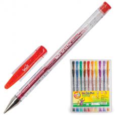 Ручки гелевые BEIFA (Бэйфа), НАБОР 10шт, WMZ, с блестками, 0,9мм, линия 0,7мм, ассорти, GA1030-10