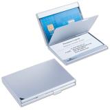 Визитница карманная DURABLE (Германия) на 20 визиток, с 2 отделениями, алюминиевая