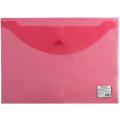 Папка-конверт с кнопкой STAFF, А4, 340*240 мм, 120 мкм, до 100 листов, прозрачная, красная, 225172