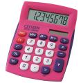 Калькулятор CITIZEN карманный SDC-450NPKCFS, 8 разрядов, двойное питание, 120х72мм, РОЗОВЫЙ
