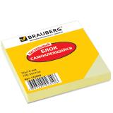Блок самоклеящийся BRAUBERG (БРАУБЕРГ), 76-76 мм, 100 л., желтый
