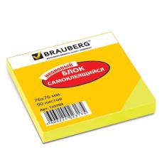 Блок самоклеящийся BRAUBERG (БРАУБЕРГ) НЕОНОВЫЙ, 76-76 мм, 90 л., желтый