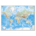 """Карта настенная """"Мир. Обзорная карта. Физическая с границами"""", М-1:15 млн., разм. 192х140 см, ламин., 293"""