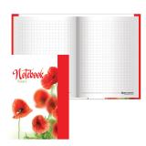 Блокнот BRAUBERG (БРАУБЕРГ), А6, 110-147 мм, 80 л., «Красные маки», твердая ламинированная обложка, выборочный лак, клетка