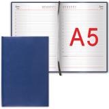 "Ежедневник BRAUBERG недатированный А5 138*213мм ""Select"", под зернистую кожу, 160л., темно-синий, 123430"