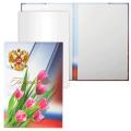 Папка адресная ламинир., выбор. лак, «Поздравляем» (герб РФ с тюльпанами), формат А4, вкладыш