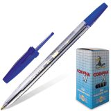 Ручка шариковая CORVINA (Италия) 51 Classic, корпус прозрачный, узел 1мм, линия 0,7мм, синяя, 40163/02