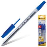 Ручки шариковые BRAUBERG, НАБОР 4шт, Line, узел 1мм, линия письма 0,5мм, синие, 141099