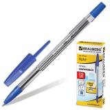 Ручка шариковая BRAUBERG Note, корпус прозрачный, узел 0,7мм, линия 0,35мм, синяя, 141146