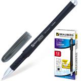 Ручка гелевая BRAUBERG Impulse, игольчатый узел 0,5мм, линия 0,35мм, резиновый упор, черная, 141183