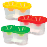 Стакан-непроливайка двойной, 3 цвета ассорти (красный, желтый, зеленый)