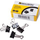 Зажимы для бумаг BRAUBERG (БРАУБЕРГ), комплект 12 шт., 19 мм, на 60 л., черные, в картонной коробке