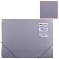 Папка на резинках BRAUBERG (БРАУБЕРГ) «Диагональ», серебряная, до 300 листов, 0,5 мм