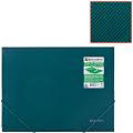 Папка на резинках BRAUBERG (БРАУБЕРГ) «Диагональ», темно-зеленая, до 300 листов, 0,5 мм