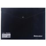 Папка-конверт с кнопкой  BRAUBERG, А4, ПЛОТНАЯ, 200 мкм, до 100 листов, непрозрачная, черная, 221361