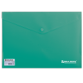 Папка-конверт с кнопкой BRAUBERG, А4, ПЛОТНАЯ, 200 мкм, до 100 листов, непрозрачная, зеленая, 221363