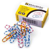 Скрепки BRAUBERG (БРАУБЕРГ), 28 мм с цветными полосками, 100 шт., в картонной коробке