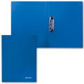 Папка с боковым металлическим прижимом  BRAUBERG Стандарт, синяя, до 100 листов, 0,6мм, 221629