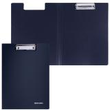 Папка-планшет BRAUBERG Стандарт, с верх. прижимом и крышкой А4 пласт.черная, до 50лист, 0,9мм,221646