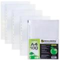 Папки-файлы перфорированные BRAUBERG (БРАУБЕРГ), комплект 100 шт., А4, гладкие, яблоко, 0,035 мм