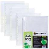 Папки-файлы перфорированные А4 BRAUBERG, КОМПЛЕКТ 100шт., гладкие, Яблоко, 0,035 мм, 221710