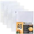 Папки-файлы перфорированные А4 BRAUBERG, КОМПЛЕКТ 50шт., апельсиновая корка, 0,045 мм, 221712