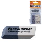 Резинки стирательные BRAUBERG, НАБОР 3 шт., 41*14*8 мм, серо-белые, в упаковке с подвесом, 222463