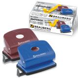 "Дырокол BRAUBERG ""Hessen"", металлический средний, на 20 листов, ассорти (синий /бордо), 222551"