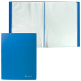 Папка  10 вкладышей BRAUBERG Office, синяя, 0,5мм, 222625