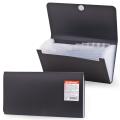 Папка на липучке ERICH KRAUSE «Standard Check», 220-140 мм, 12 отделений, пластиковые индексные ярлычки, черная, 0,4 мм