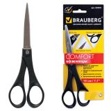 """Ножницы BRAUBERG """"Comfort"""", 180 мм, черные, 2-х сторон.заточка, карт. упак. с европодвесом, 230931"""