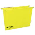 Подвесные папки картонные BRAUBERG (БРАУБЕРГ, Италия), комплект 10 шт., 370-245 мм, до 80 л., FC, желтые, 230 г/м<sup>2</sup>, табуляторы