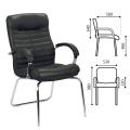 """Кресло для приемных и переговорных """"Orion CFA/LB steel chrome"""", кожа, черное LE-A"""