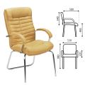 """Кресло для приемных и переговорных """"Orion CFA/LB steel chrome"""", кожа, песочное LE-D"""