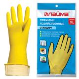 Перчатки хозяйственные латексные ЛАЙМА «Стандарт», с х/б напылением, размер ХL (очень большой)