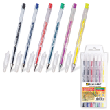 Ручки гелевые BRAUBERG, набор 6 шт., «Jet», узел 0,7 мм, линия 0,5 мм (синяя, черная, красная, зеленая, желтая, фиолетовая)