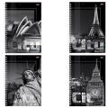 Тетрадь 80 л. А4 «Хатбер», спираль, клетка, выборочный лак, «City Collection» («Города»)