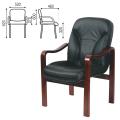 Кресло для приемных и переговорных CH-658/CH-422, кожа, черное