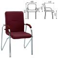 """Кресло для приемных и переговорных """"Samba"""" (дерево 1.023), хром.каркас, кожзам бордо V-16"""
